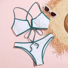 Whip Stitch V Wired Bikini Swimsuit