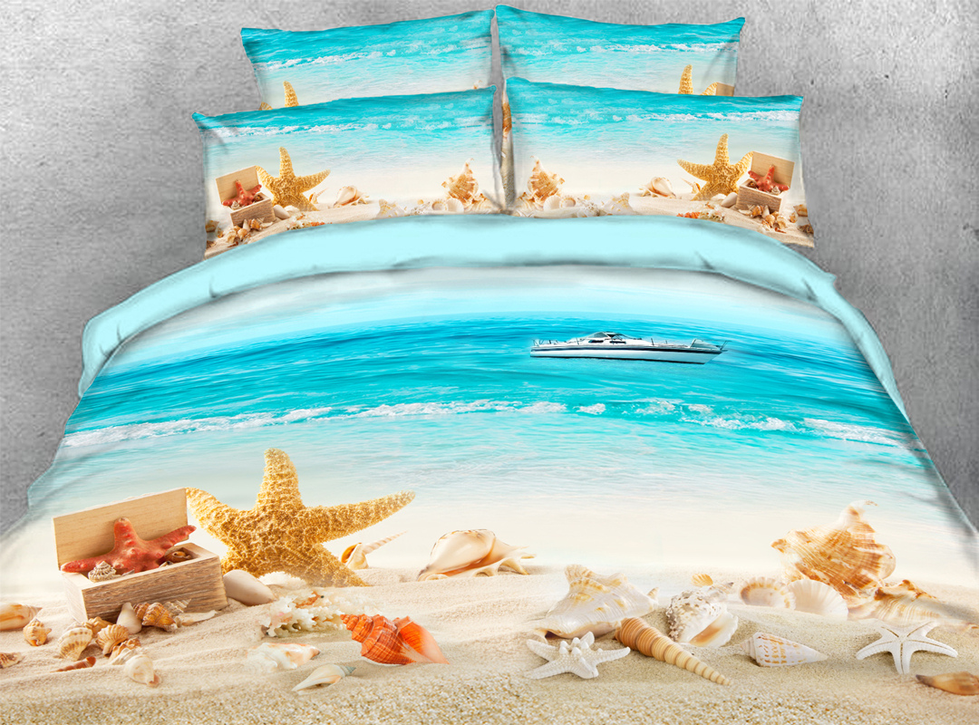 Beach Sea Starfish Soft 3D Scenery Bedding Set 4PCS Duvet Cover with Zipper Closure