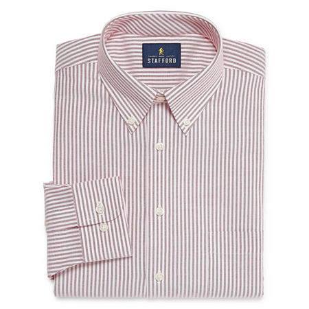 Stafford Mens Wrinkle Free Oxford Button Down Collar Regular Fit Dress Shirt, 15.5 36-37, Red