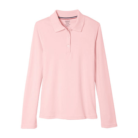 French Toast Little & Big Girls Long Sleeve Polo Shirt, X-large , Pink