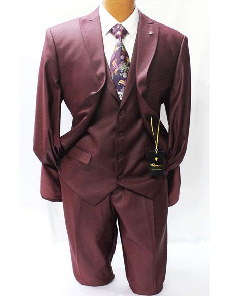 Men's 2 Buttons Style Fit Wine Burgundy Vested Suits Pleated Pants