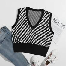 Zebra Stripe Pattern Sweater Vest