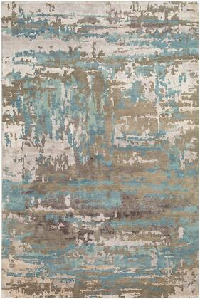 Arte RTE-2301 6' x 9' Rectangle Modern Rug in Sage  Teal  Taupe  Medium Grey  Khaki  Dark