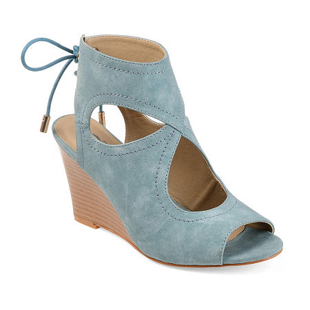 Journee Collection Womens Camia Wedge Sandals, 7 1/2 Medium, Blue