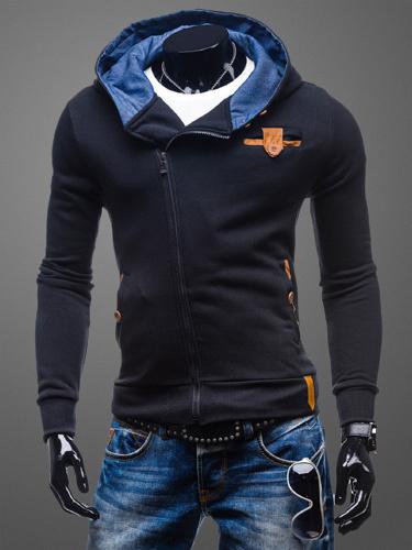 Milanoo Sudadera con capucha para hombre con manga larga de algodon y cremallera Surplice negra con capucha casual de primavera