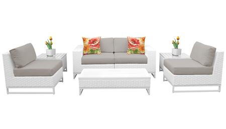 Miami MIAMI-07e-BEIGE 7-Piece Wicker Patio Furniture Set 07e with 2 Armless Chairs  2 End Tables  1 Coffee Table  1 Left Arm Chair and 1 Right Arm
