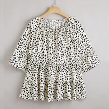 Plus Dalmatian Print Tie Front Babydoll Blouse