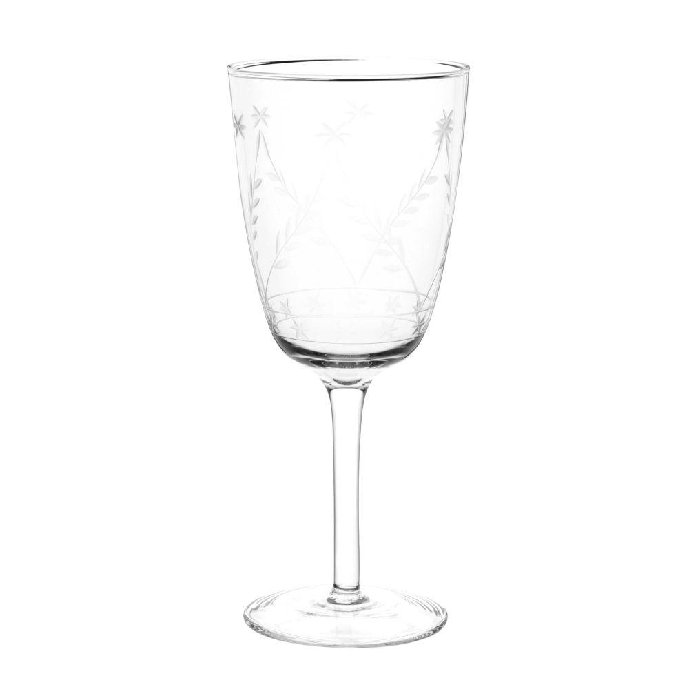 Stielglas mit eingraviertem Blumenmotiv