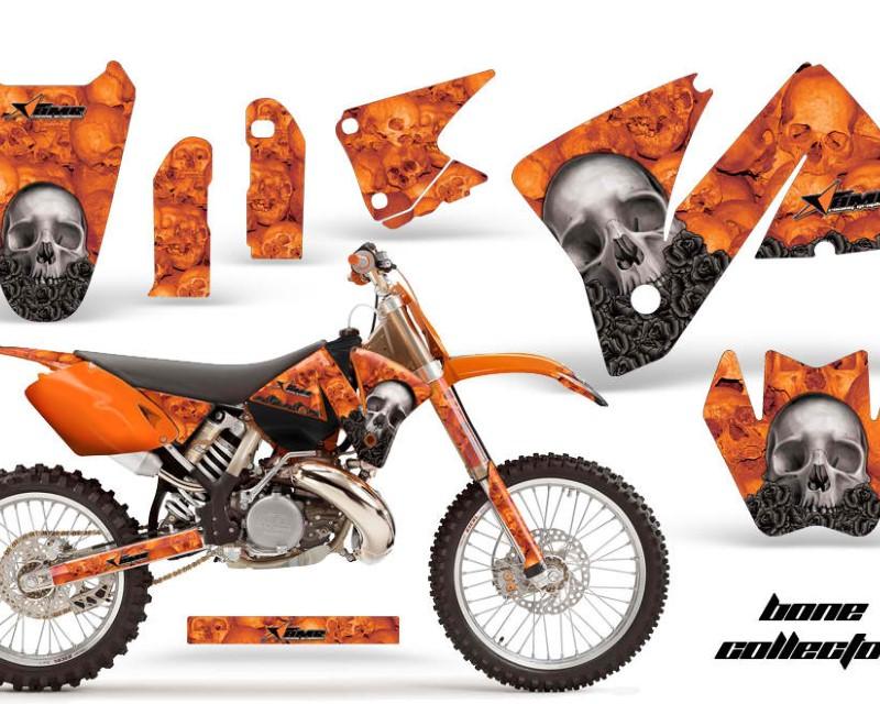 AMR Racing Dirt Bike Decal Graphic Kit Wrap For KTM EXC 200-520 MXC 200-300 2001-2002áBONES ORANGE