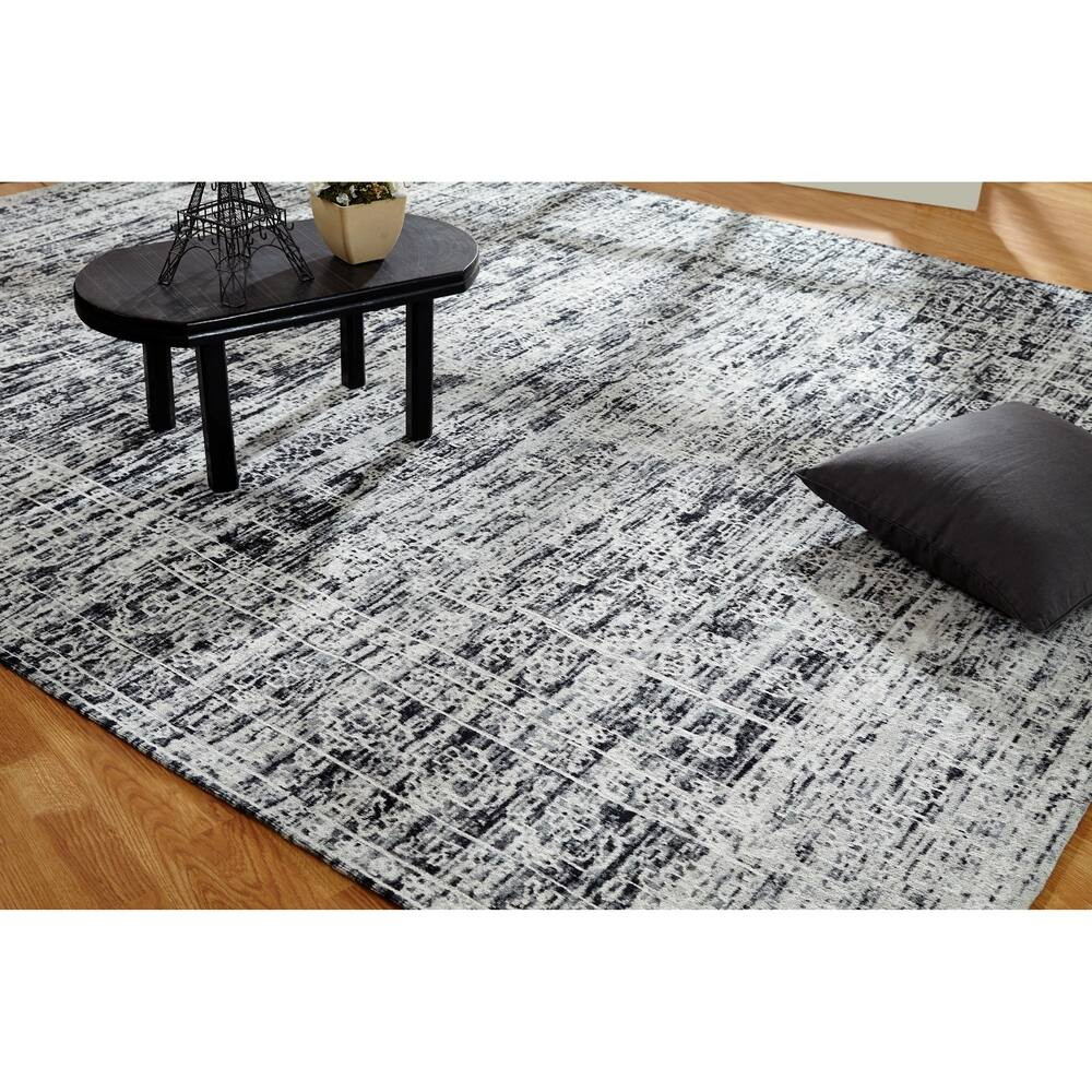 Jardin Hazy Charcoal Cotton Chenille Handmade Area Rug (Hazy Charcoal 5'6