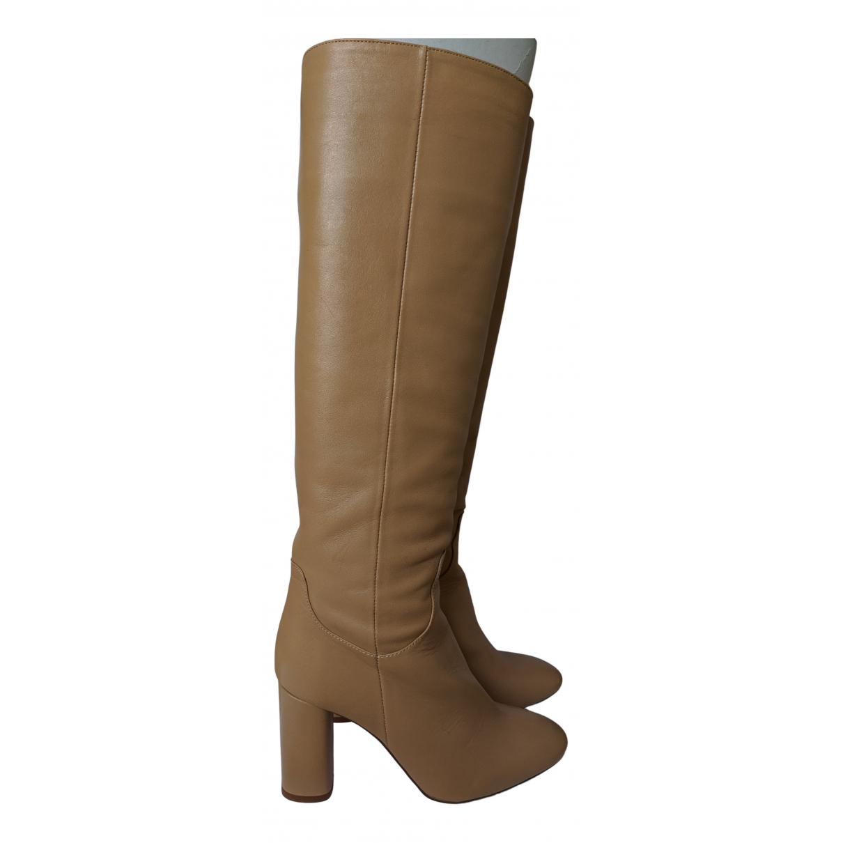 Zara - Bottes   pour femme en cuir - beige