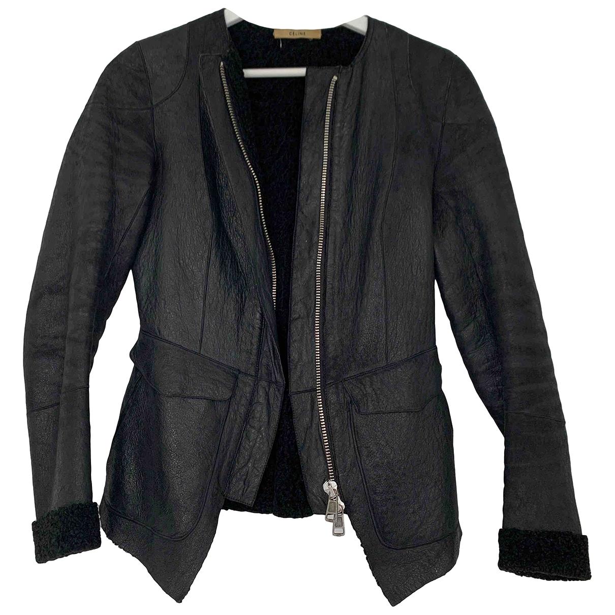 Celine - Blouson   pour femme en cuir - noir
