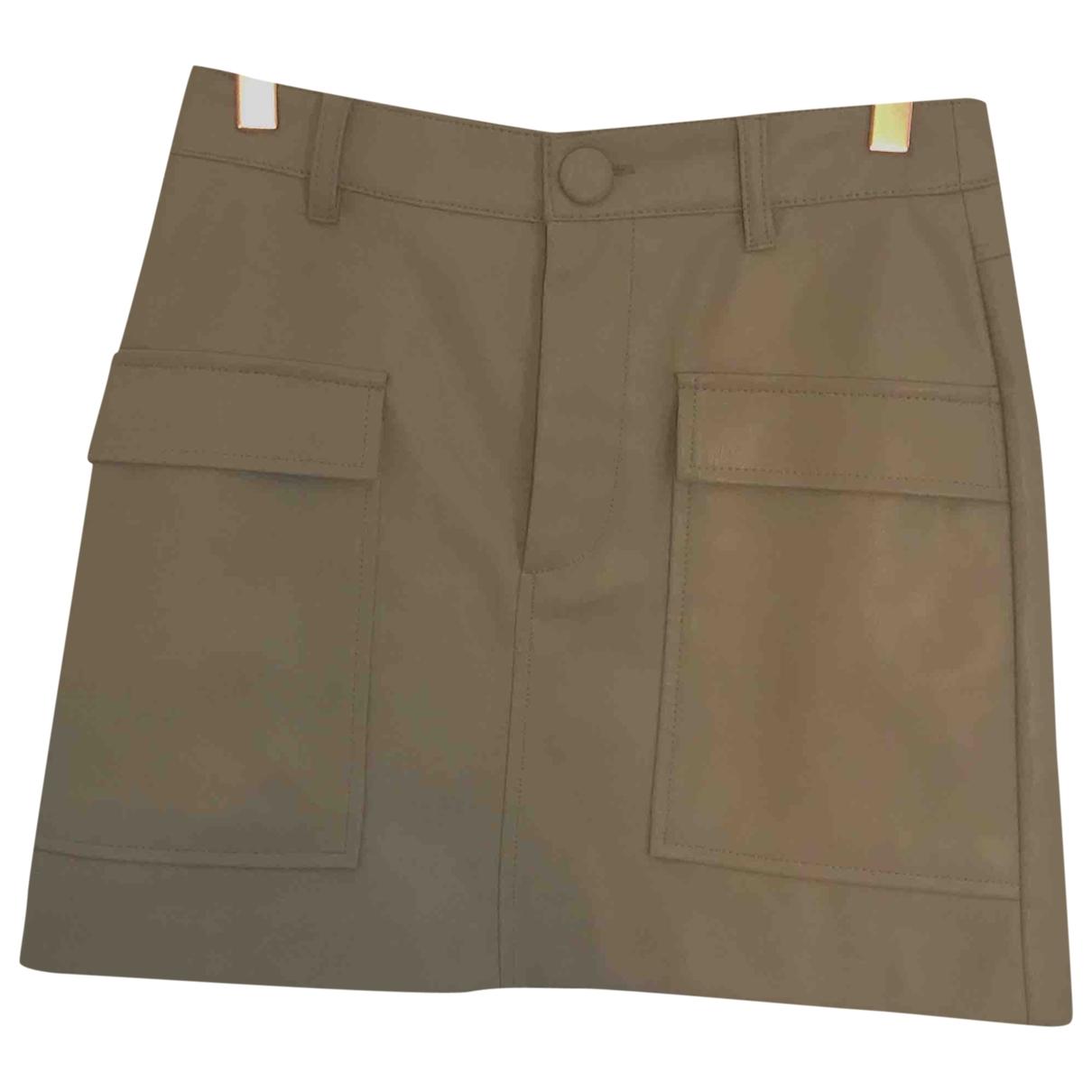 Zara - Jupe   pour femme en cuir - beige
