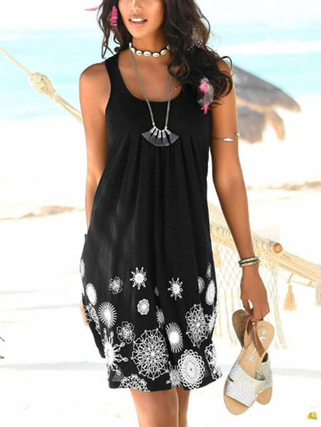 Yoins Casual Floral Print Round Neck Thick Strap Sleeveless Dress