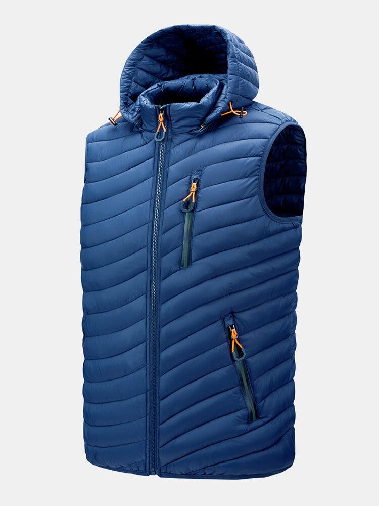 Mens Zip Up Casual DetachableDrawstring Hooded Padded Gilet Vests