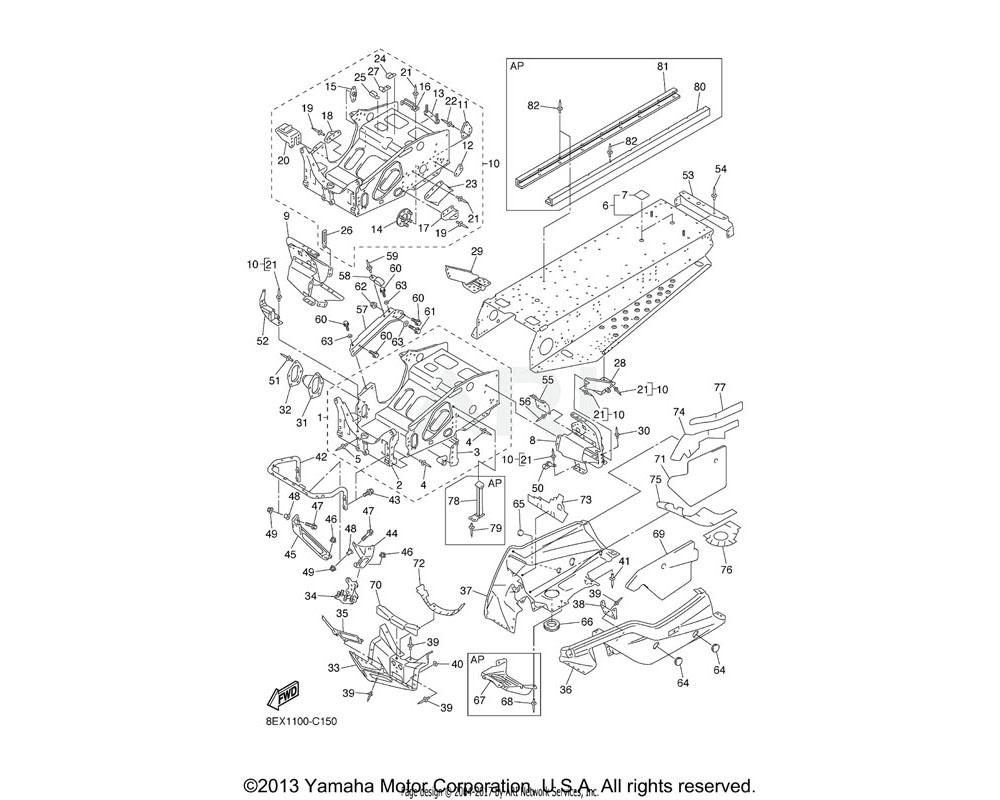 Yamaha OEM 8EX-77264-00-00 LINING, SHROUD 4