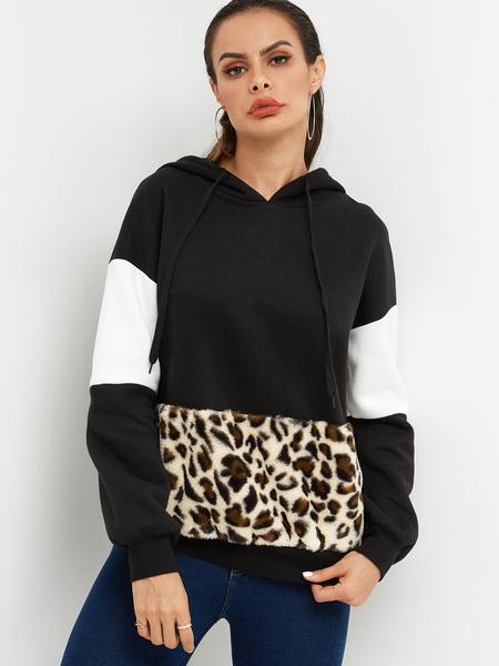 Yoins Fashion Color Block Leopard Long Sleeves Hoodie