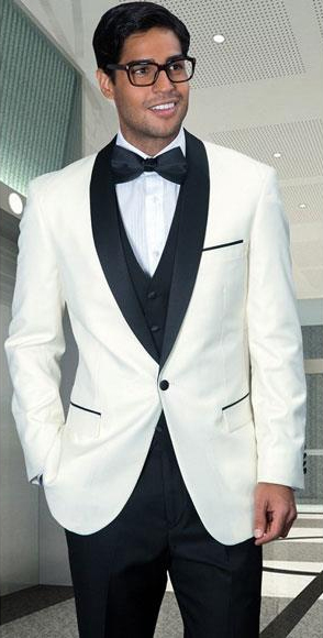 Men's Off White Modern Fit 1 Button Shawl Collar 3 Piece Tuxedo