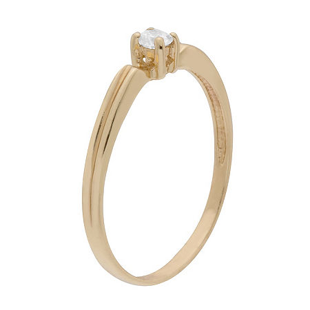 Itsy Bitsy Yellow Gold Over Sterling Cubic Zirconia 14K Gold Over Silver Stackable Ring, 8 , No Color Family