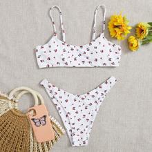 Bañador bikini cortado alto con estampado de cereza