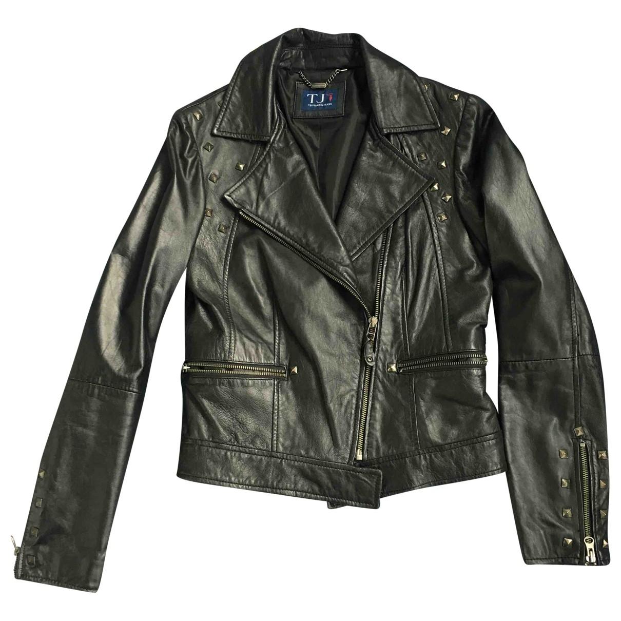 Trussardi Jeans \N Black Leather jacket for Women 42 IT
