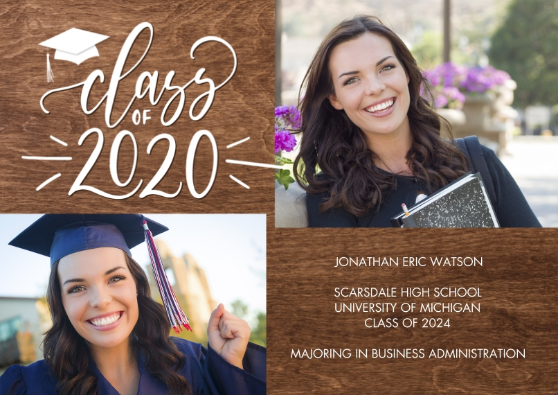 2020 Graduation Announcements 5x7 Cards, Premium Cardstock 120lb with Elegant Corners, Card & Stationery -Class of 2020 Gold Script by Tumbalina