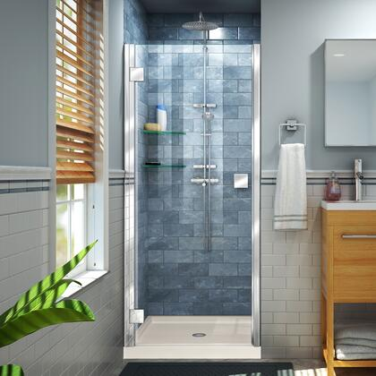 DL-533636-22-01 Lumen 36 D x 36 W by 74 3/4 H Hinged Shower Door in Chrome with Biscuit Acrylic Base