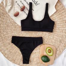 Bikini Badeanzug mit U-Kragen und hohem Ausschnitt