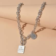 Geometric Charm Chain Necklace