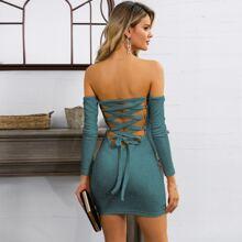 Glamaker Off Shoulder Lace Up Back Rib-knit Bodycon Dress