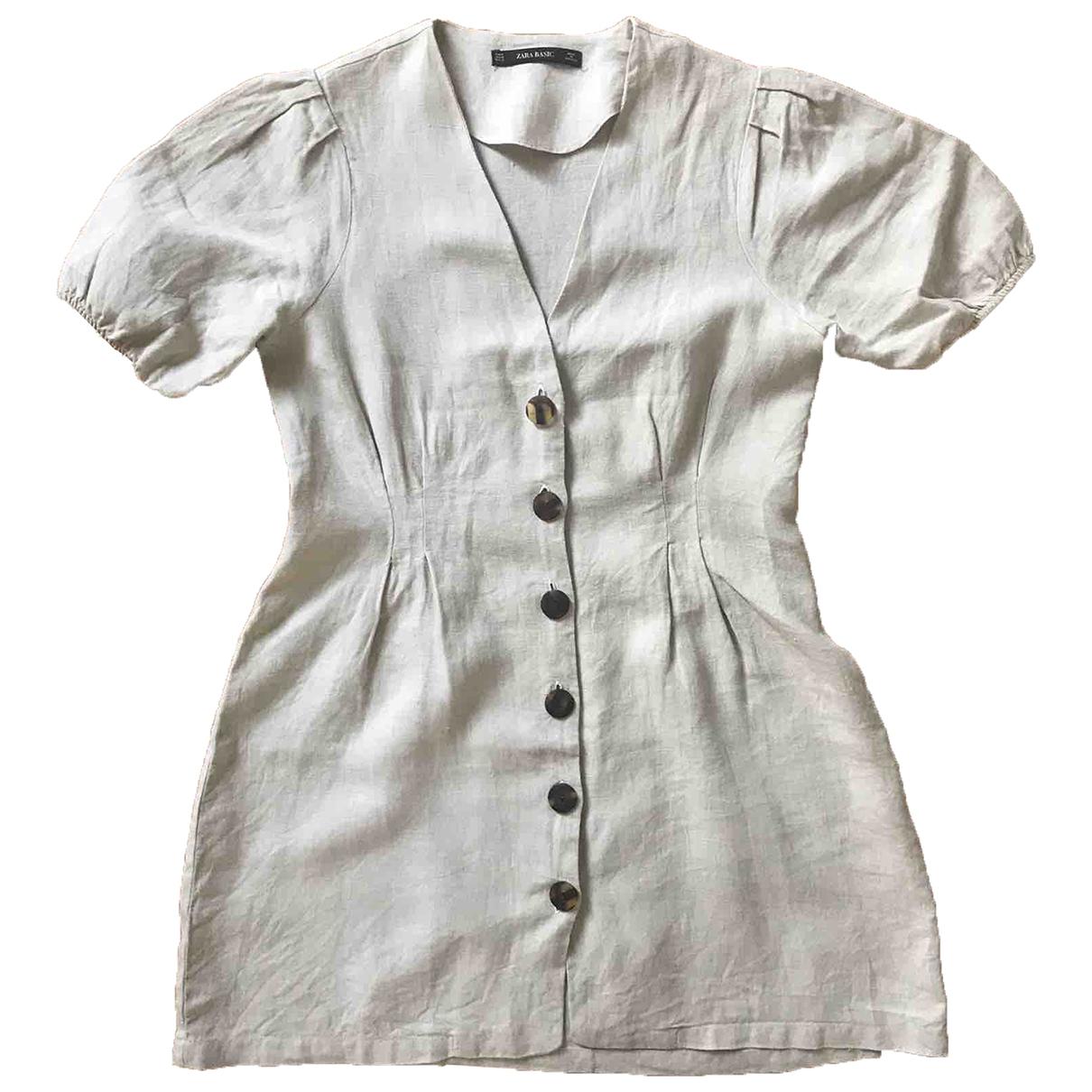 Zara - Robe   pour femme en lin - ecru