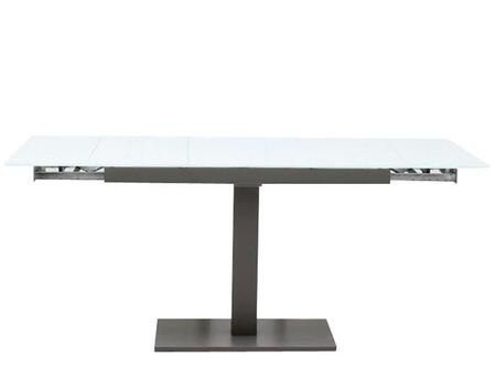 VGGUTASTE Modrest Taste Extendable Dining Table with White Glass Top  Smooth Extending Mechanism and Grey Solid