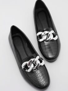 Chain Decor Croc Embossed Flat Loafers