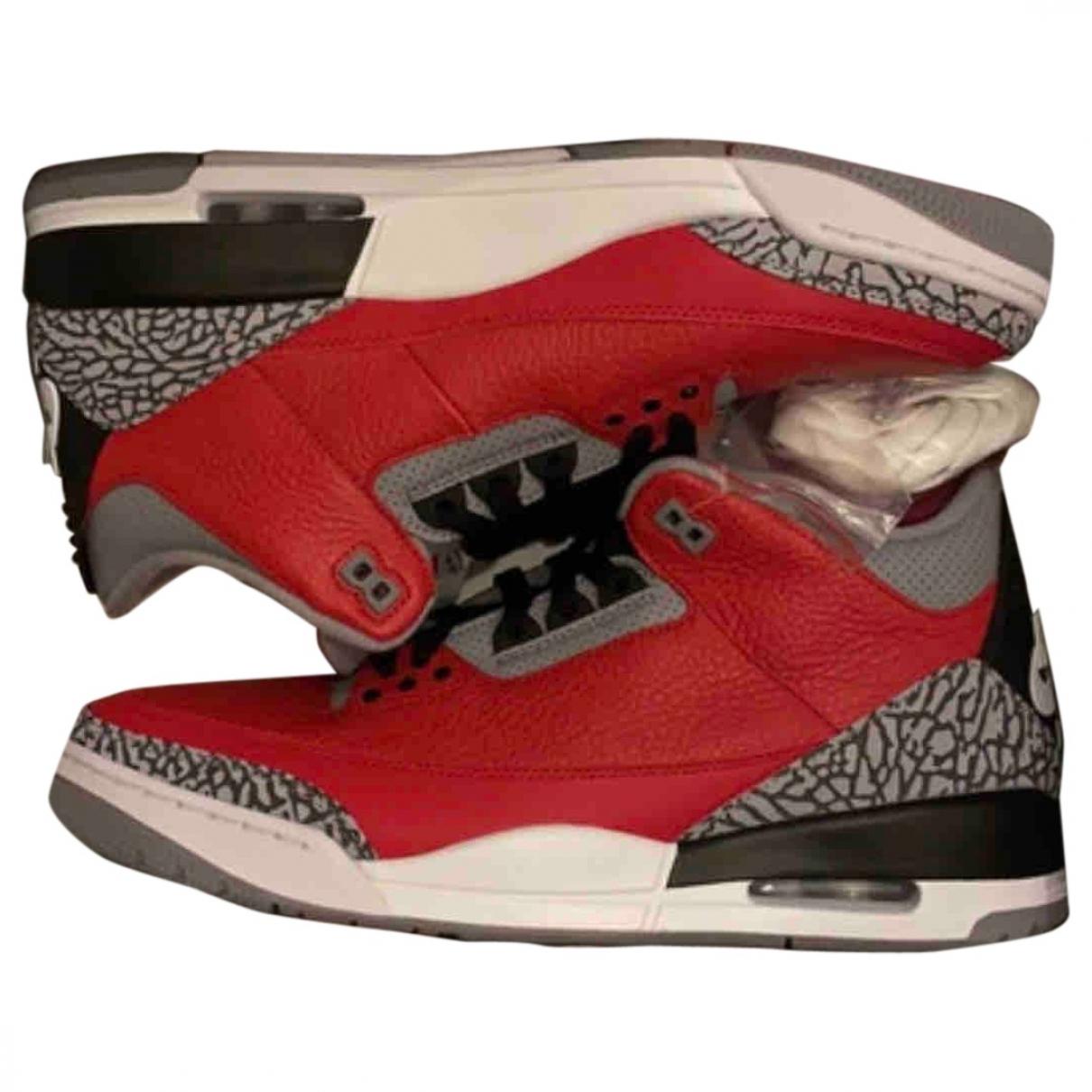 Jordan - Baskets Air Jordan 3 pour homme en cuir - rouge