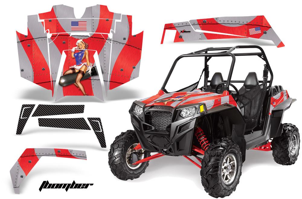 AMR Racing  Full Custom UTV Graphics Decal Kit Wrap TBomb Red Polaris RZR XP 900 11-14
