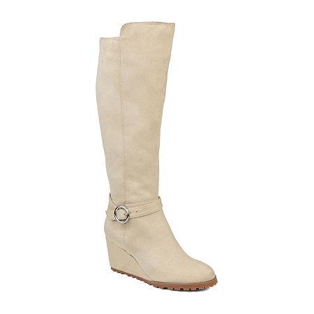 Journee Collection Womens Veronica Dress Wedge Heel Zip Boots, 8 Medium, Beige