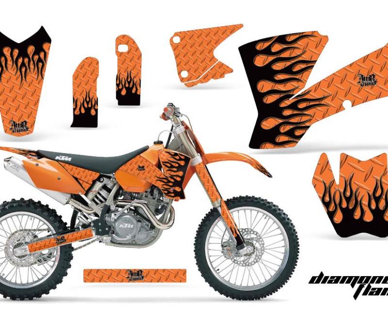 AMR Racing Dirt Bike Graphics Kit Decal Wrap For KTM  SX SXS EXC MXC 2001-2004áDIAMOND FLAMES BLACK ORANGE