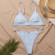 Dreieckiger Bikini Badeanzug mit Dalmatienr Muster