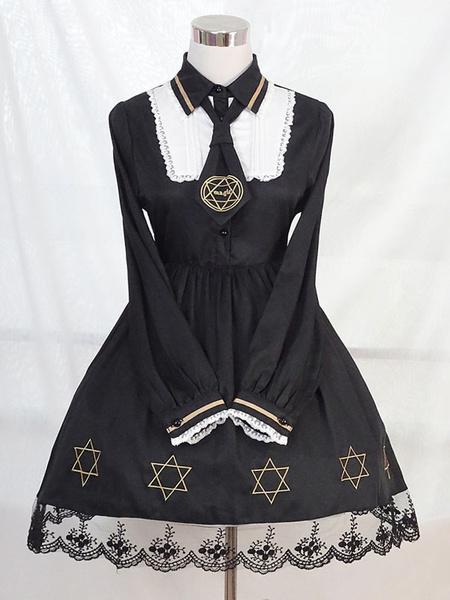 Milanoo Classic Lolita OP Dress Starlet Lace Trim Black Lolita One Piece Dress
