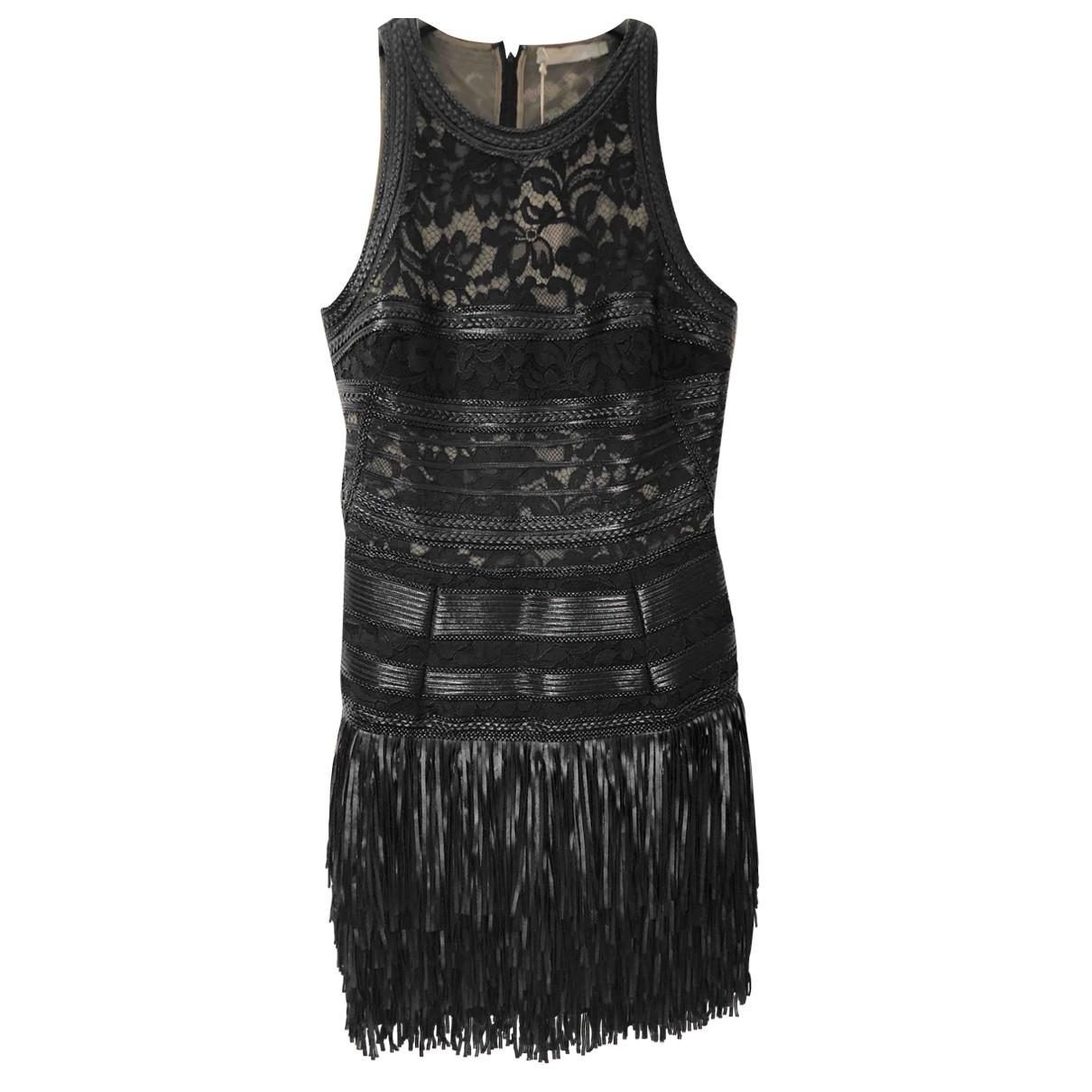 Amen Italy \N Kleid in  Schwarz Leder