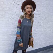 Pullover largo de manga raglan de color combinado