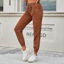 Pantalones Bolsillo Liso Casual