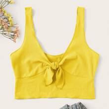 Neon Yellow Tie Front Tank Top