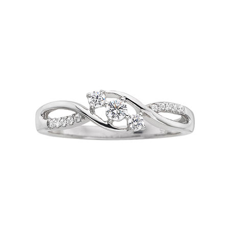 Love Lives Forever 1/5 CT. T.W. Diamond Three-Stone Promise Ring, 5 , No Color Family