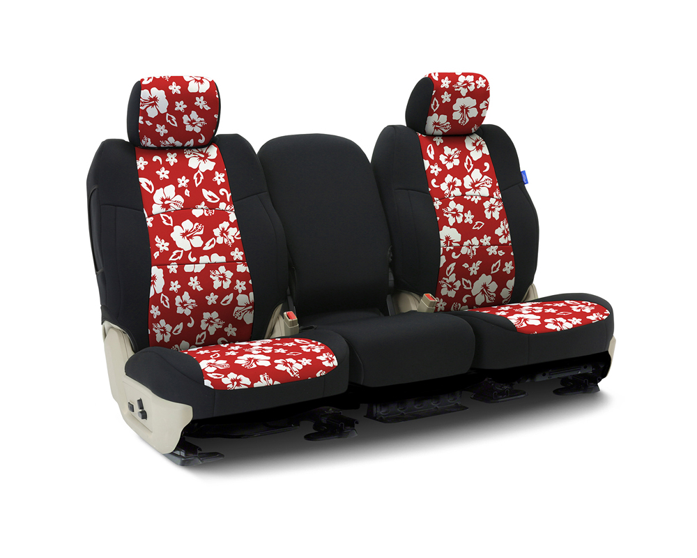 Coverking CSCF6TT9887 Custom Seat Covers 1 Row Neoprene Hawaiian Red | Black Sides Front Toyota Prius 2016-2021