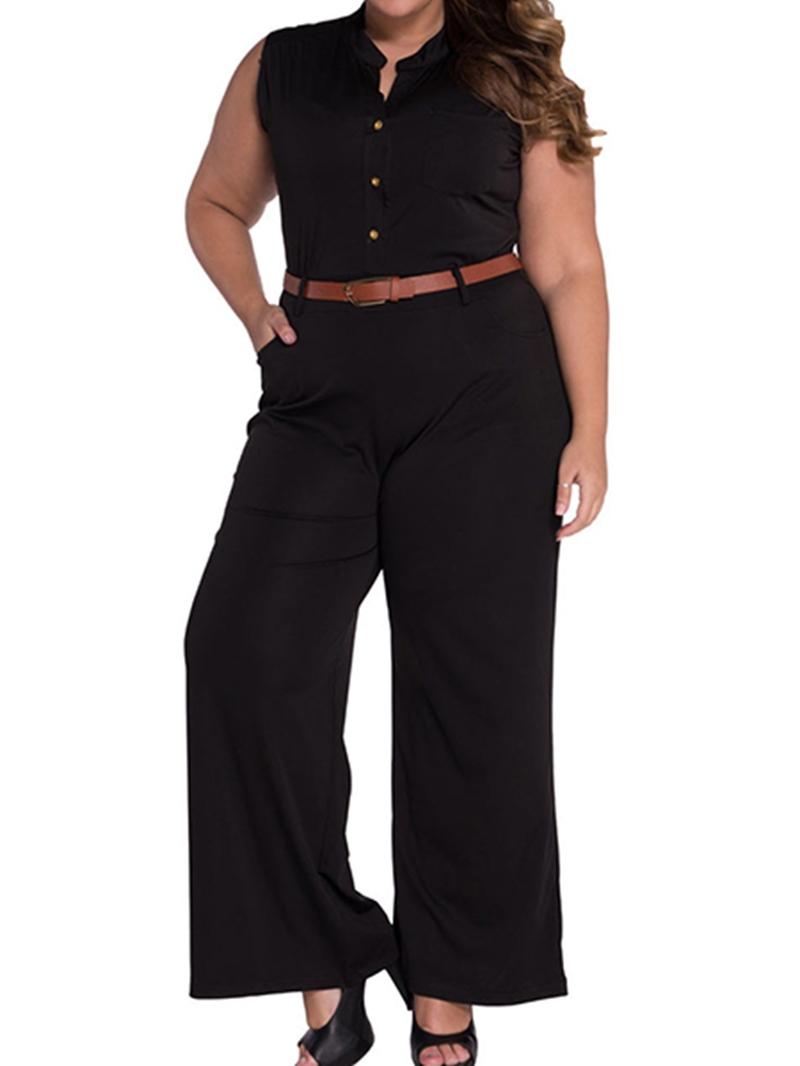 Ericdress Plus Size Button Slim High Waist Jumpsuit(Without Belt)