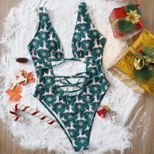 Einteiliger Badeanzug mit Weihnachten Hirsch Muster und Ausschnitt