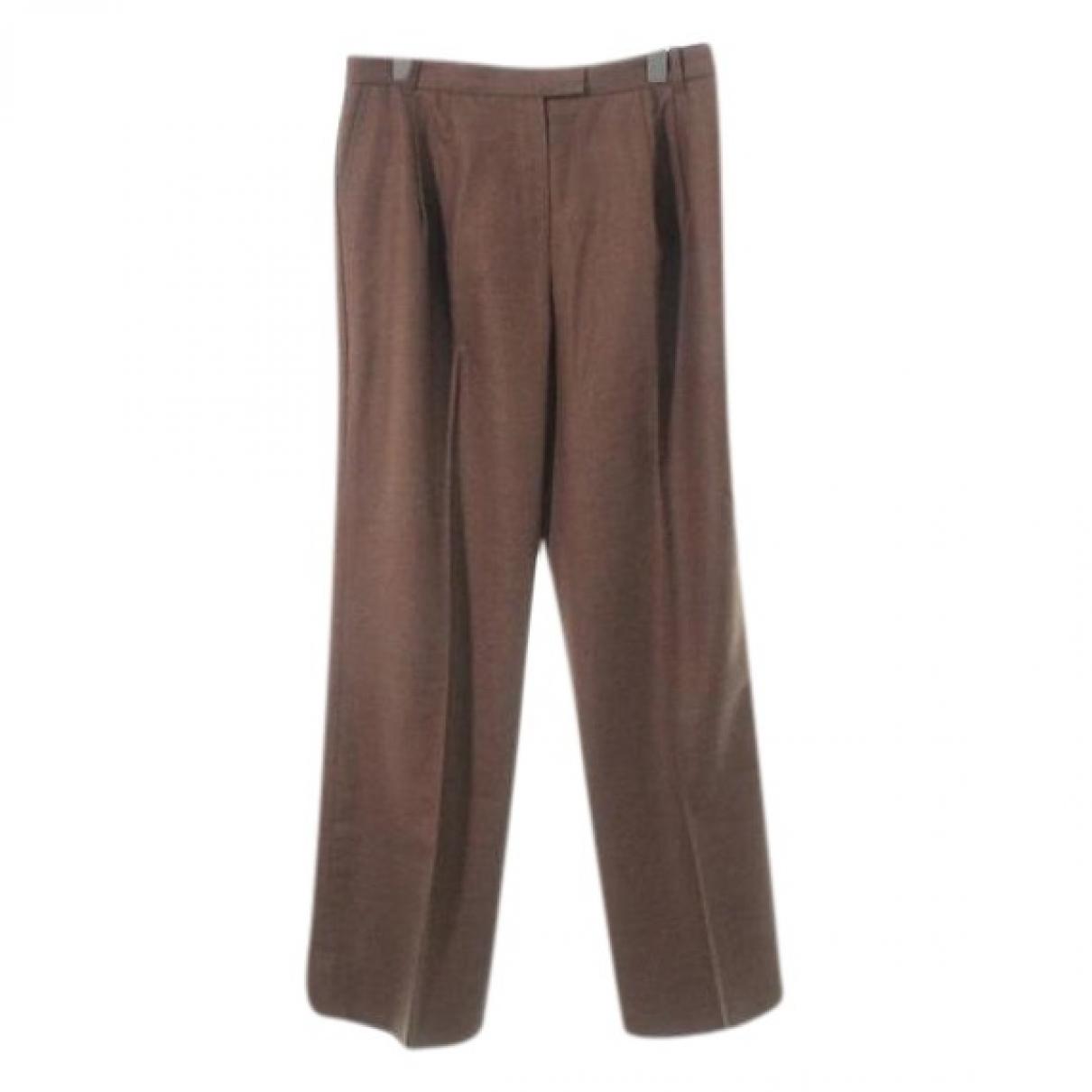 Hermès \N Brown Wool Trousers for Women 42 FR