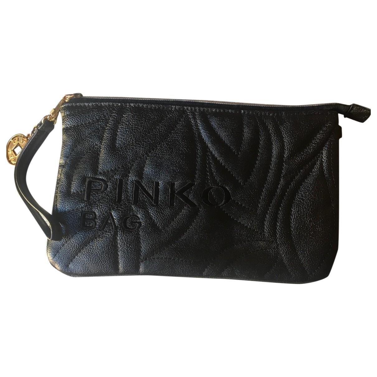 Pinko \N Clutch in  Schwarz Leder