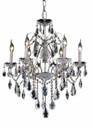 2016D24C/SS 2016 St. Francis Collection Hanging Fixture D24in H21in Lt: 6 Chrome Finish (Swarovski Strass/Elements